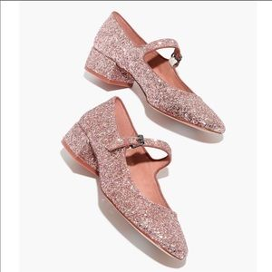MADEWELL Delilah Pink Glitter Mary Jane shoes 8